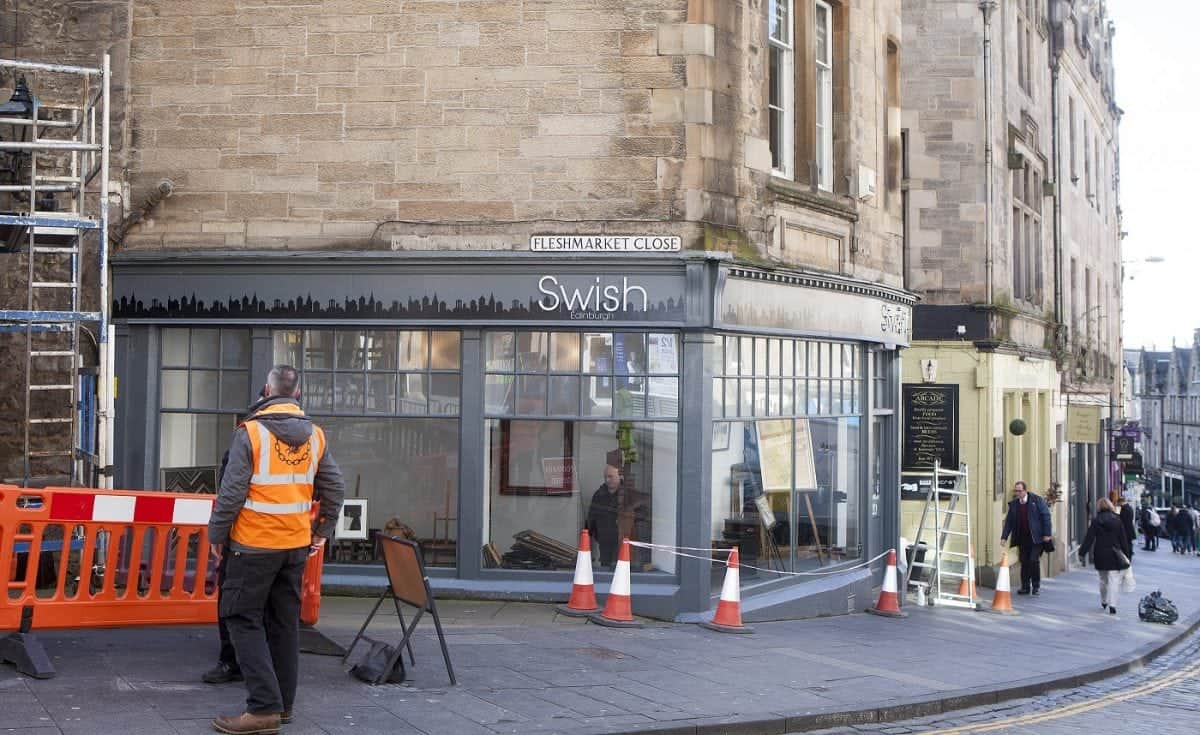 Cockburn Street in Edinburgh where shops are being transformed for the filming of the new Avengers: Infinity War. March 21 2017
