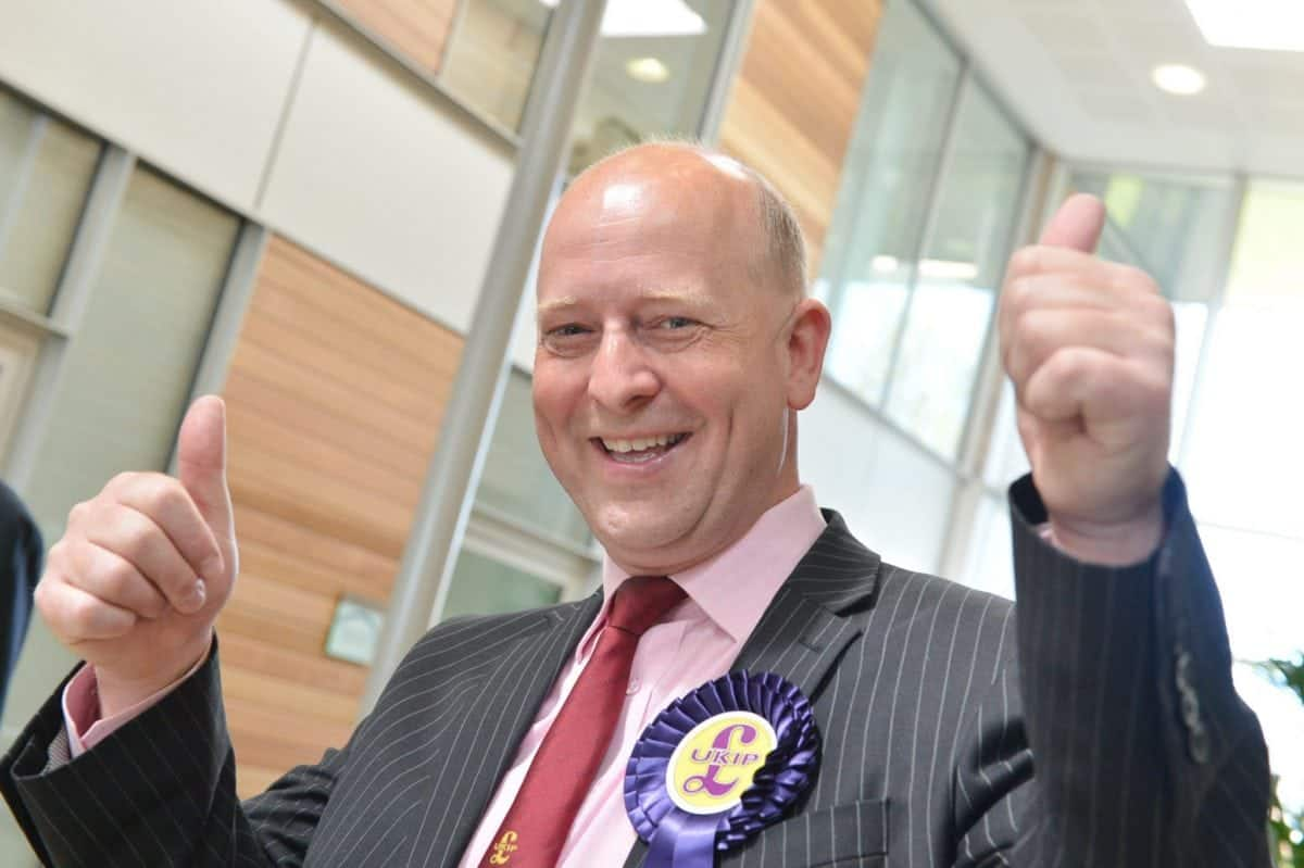 """UKIP councillor Chris Adams, 50 who has been fined for fraudulently using a disabled blue parking badge. See Masons copy MNBADGE: A UKIP councillor who represents the birthplace of the Paralympics has been fined for fraudulently using a disabled blue parking badge. Chris Adams, 50, told to a traffic warden """"I've been a naughty boy"""" after being caught using a friend's badge after claiming he couldn't find alternative parking. But a court heard there was a multi-storey car park adjacent to where he parked on a visit to Portsmouth on September 17 last year."""