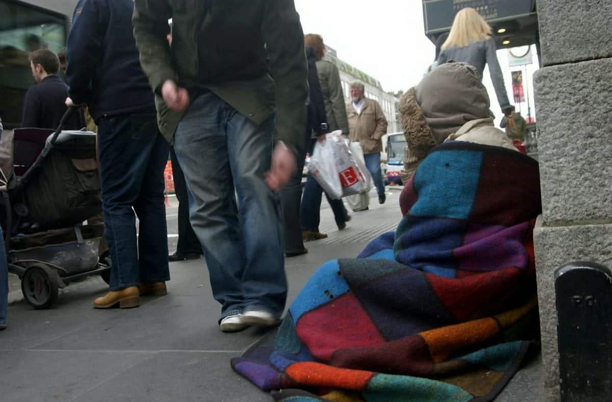 "FILE PICTURE - A beggar on the streets of a British city.   A ""fragile and vulnerable"" woman has been jailed for six months after begging for just 50p on the streets of Worcester.  See NTI story NTIBEG.  Marie Baker, who has difficulty reading and writing, was sentenced at Worcester County Court without legal representation – because she was unable to get a solicitor or legal aid.  The 38-year-old was sentenced in February by District Judge Mackenzie, after twice breaching a civil injunction which banned her from begging in the city.  The 26-week sentence has been condemned as a ""damning indictment of our justice system"" by legal campaign group the Howard League for Penal Reform.  The judge said while Ms Baker's begging was not ""aggressive"" or persistent, the fact she had repeatedly breached court orders meant a more ""significant"" penalty was necessary."