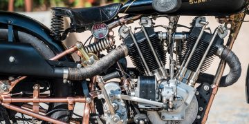"A legendary Brough motorbike which was capable of 125mph almost 90 years ago is set to sell for a world record £585,000. See SWNS story SWBIKE; The Brough Superior SS100 is regarded as the most desirable thing on two wheels and the Rolls-Royce of motorcycles. This 1928 SS100 model is known as the 'Moby Dick' and is even quicker than the standard model TE Lawrence was famously killed riding. It was fitted with a 1140cc engine specially tuned by George Brough and JA Prestwick to develop around 65bhp. When Motor Cycling Magazine tested it in 1931 they called it the ""fastest privately owned machine in the world"" after clocking a staggering 115mph in top gear. A later owner managed to do 125mph on the stunning motorcycle, which was built on Haydn Road in Nottingham."