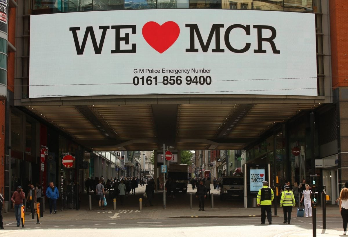 "We Love Manchester signs have begun to pop up around the city to show solidarity and to share a helpline for those effected by last nights terror attack in the city. At least 22 people have died, with more than 60 injured after an 'explosion' tore through a pop concert at Manchester Arena in a suspected terror attack. In a statement, GMP said: ""This is currently being treated as a terrorist incident until police know otherwise."" Officers were called to reports of an explosion at the Manchester Arena just before 10.35pm on Monday, May 22. ""So far 19 people have been confirmed dead, with around 50 others injured,"" the force said. Multiple witnesses reported hearing two ""huge bangs"" at the venue shortly after US singer's gig finished at around 10.30pm on Monday evening. The area around the arena was swamped with police and emergency services and approach roads were cordoned off."