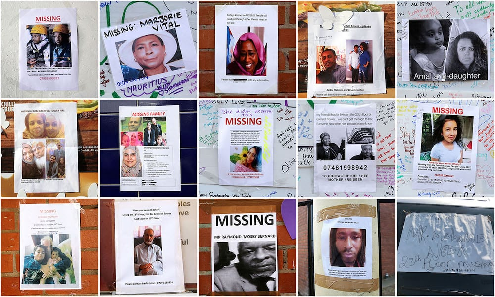 A montage of missing posters put up after the fire in Grenfell Tower, West London. June 16 2017. FILE PHOTO. See National News story NNTOWER: Specialists working at Grenfell Tower have made 87 'recoveries' of human remains in the tower - but warn that could mean more than 87 separate people. More than 250 investigators are still working at the scene, and will have to comb through over 300 tonnes of debris in the burnt-out shell of the tower to find what is left of the victims. Police say 21 people have been formally identified, but it could take until the end of the year to have an accurate number of victims. Last night, families of those who died or are missing and presumed dead met with key members of the Metropolitan Police and the Senior Coroner, Dr Fiona Wilcox.