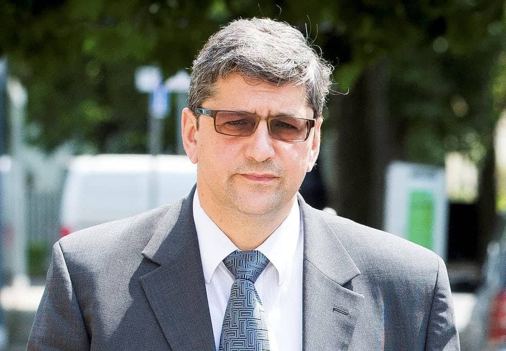 "Andronicos Sideras outside Inner London Crown Court, where his trial begins today, accused of passing of horse meat as beef. July 6, 2017.  A meat supplier mixed cheap horsemeat with beef before flogging the 'horsebeef' to unsuspecting manufacturers of ready meals and burgers for supermarkets and caterers, a court heard.  See NATIONAL story NNHORSE.  London-based businessman Andronicos Sideras is accused of buying cheap cuts of horse then fraudulently selling it as '100% beef' for vast profits.  The allegations relate to the 2013 'horse meat scandal' which rocked Europe after tests on hundreds of beef products revealed traces of undeclared horse meat.  Thousands of items were pulled from supermarket shelves and it exposed serious concerns about the supply chain of food.   Two businessmen Alex Beech and Ulrik Nielson both from the Danish-based company Flexifoods have already admitted their part in the horsemeat scandal, a jury heard.  Inner London Crown Court heard Sideras, 55, played a ""key role' in their plot, bulking out beef with horsemeat to produce thousands of kilos of 'horsebeef."""