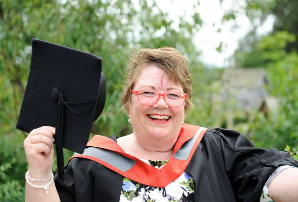 Taxi driver Ann Roberts.  Studying for a degree has quite literally been a journey for Ann Roberts as she hit the books while working as a taxi driver.  See NTI story NTITAXI.  The 61-year-old would pull night shifts on the road and then arrive at Staffordshire University for 9am lectures. And she even managed to do some of her studying in the cab.  Now all the hard work has paid off as Ann, from Hilderstone, has graduated with a 2:2 honours degree in modern history.