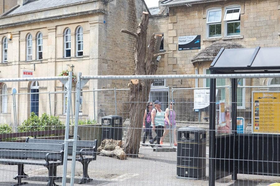 """Council redevelopment of the market space which meant a tree had to be cut down the day before the judging of the Britain in Bloom contest Melksham, Wiltshire. See SWNS story SWBLOOM; Volunteers in a well-kept market town are """"horrified"""" after the council felled a row of trees - the day before an inspection by Britain in Bloom judges. Green-fingered locals had worked """"tirelessly"""" to spruce up Melksham, Wilts., by planting flower beds, weeding borders and cleaning parks. But they were furious when contractors felled the landmark trees in Market Place the day before the town was judged by the Royal Horticultural Society (RHS).  Wiltshire Council has apologised for the timing of the tree works but volunteers fear the judges will penalise the town because of its ugly central square. Kathy Iles, who co-ordinates activities for South West in Bloom Melksham, was reduced to tears when she saw the jagged stumps."""