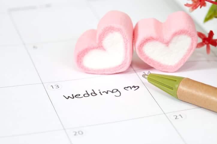 wedding plan on calendar and heart shape
