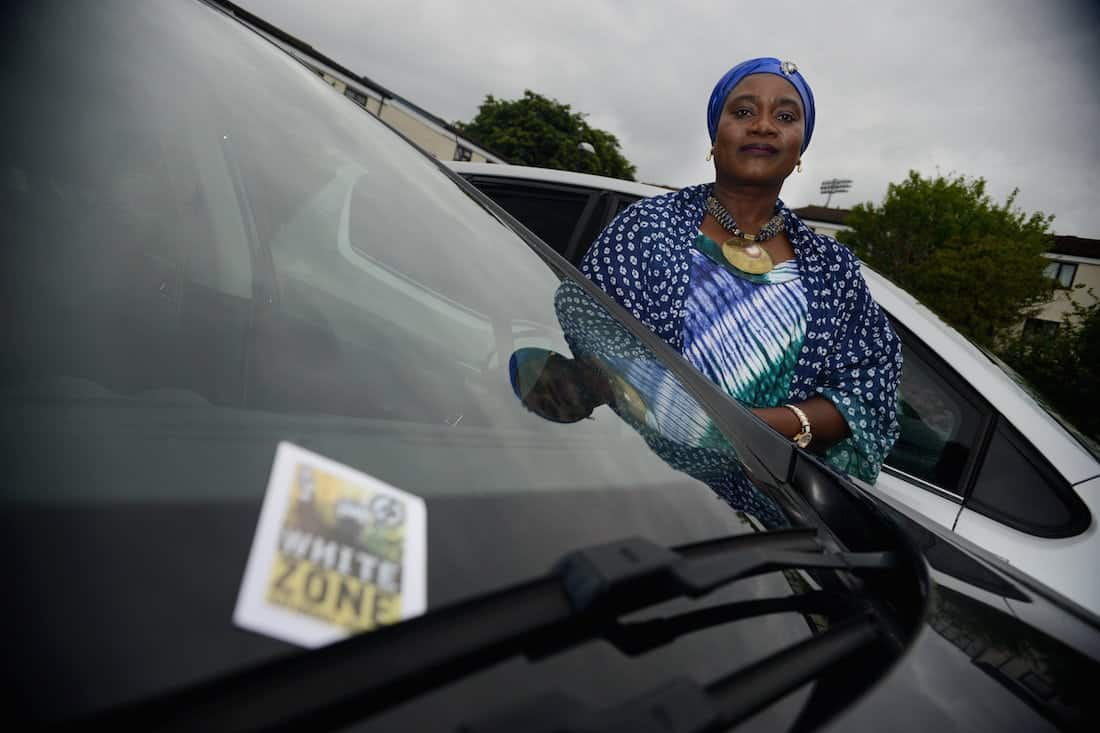 Isatta Kallon was targeted when she want to Torquay for the day with her family – someone put a racist 'white zone' sticker on their car. See SWNS story SWNAZI - Woman left terrified after a racist neo-Nazi sticker left on her car declares the area a 'white zone'