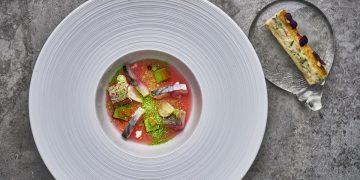 The Square Cured Cornish mackerel, leek, pink radish, chive