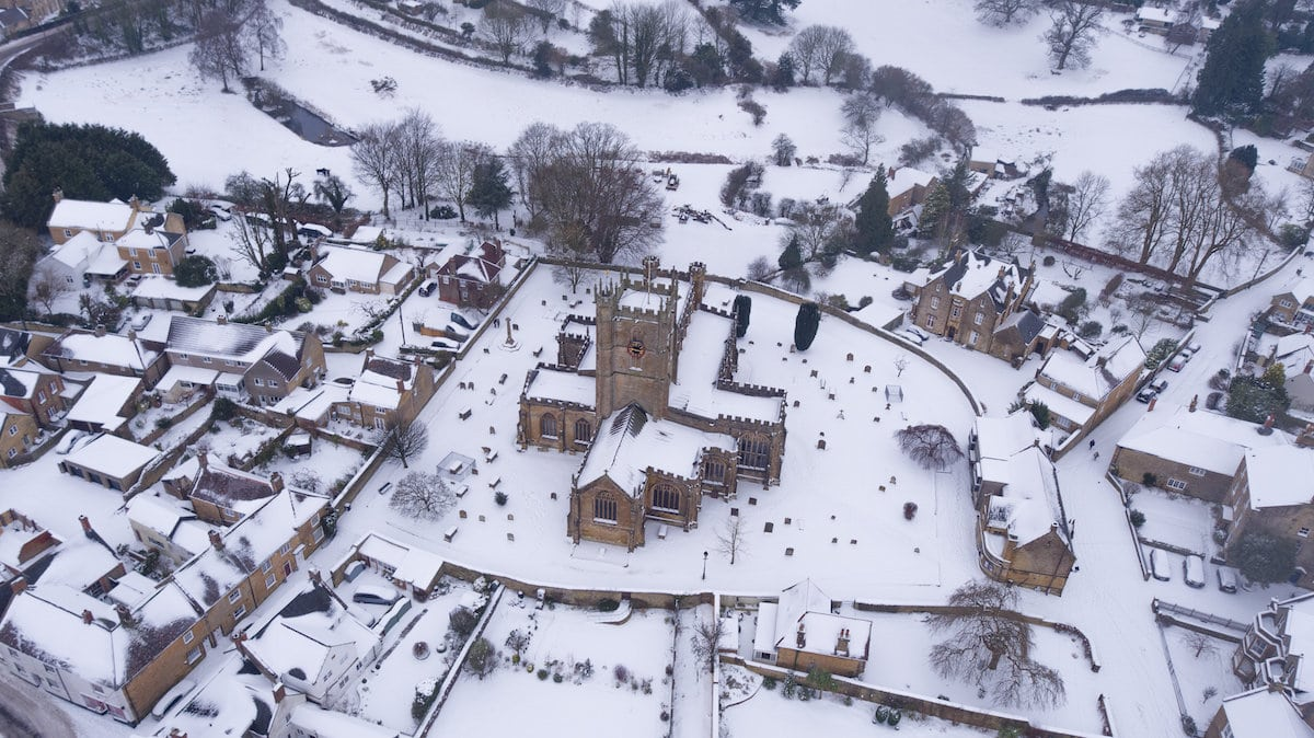 Aerial view of the scene at Crewkerne, Somerset which is covered in snow, March 2 2018. In nearby Ilminster several motorists were trapped in their cars on the A303 as blizzards blocked the road.
