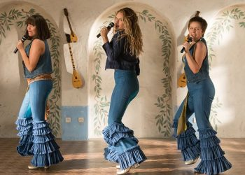 "(L to R) Young Tanya (JESSICA KEENAN WYNN), Young Donna (LILY JAMES) and Young Rosie (ALEXA DAVIES) in ""Mamma Mia! Here We Go Again.""  Ten years after ""Mamma Mia! The Movie,"" you are invited to return to the magical Greek island of Kalokairi in an all-new original musical based on the songs of ABBA."