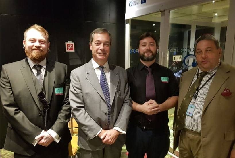 L-R: European election candidates: UKIP's Mark Meecham (aka Nazi pug youtuber Count Dankula, Nigel Farage, rape threat controversialist Carl Benjamin, together with UKIP - Brexit Party defector David Coburn who isn't standing for this election  (c) Twitter