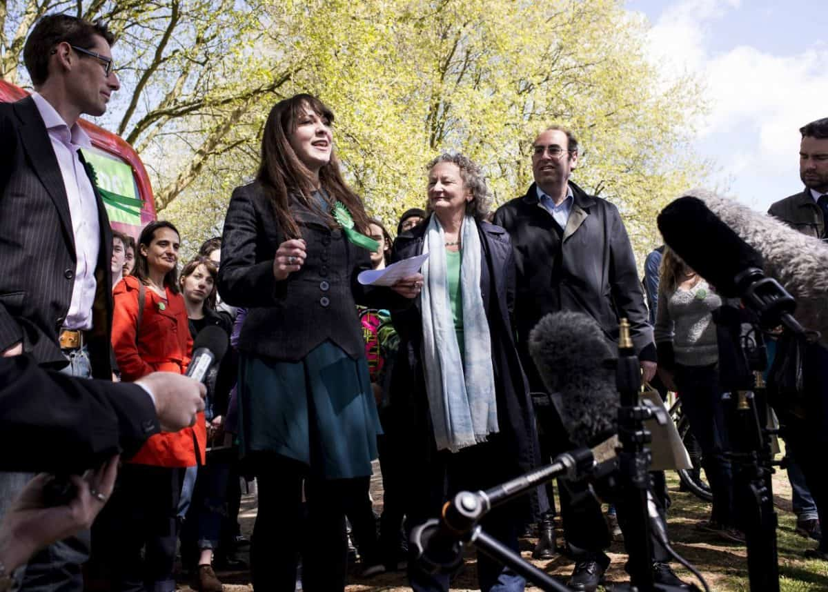 © Aaron Chown - Green Party Bus Launch Bristol with Darren Hall, Tony Dyer, Amelia Womak and Jenny Jones. 28th April 2015