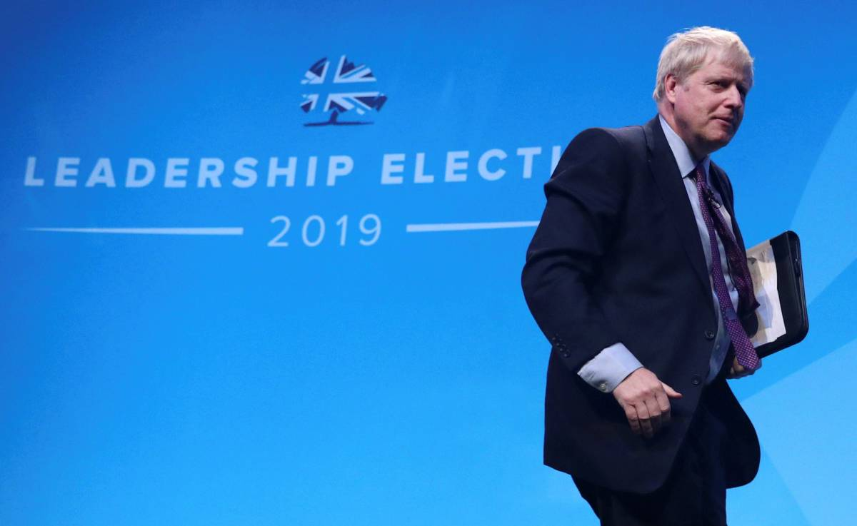 Boris Johnson, a leadership candidate for Britain's Conservative Party, leaves a hustings event in Birmingham, Britain, June 22, 2019. REUTERS/Hannah McKay
