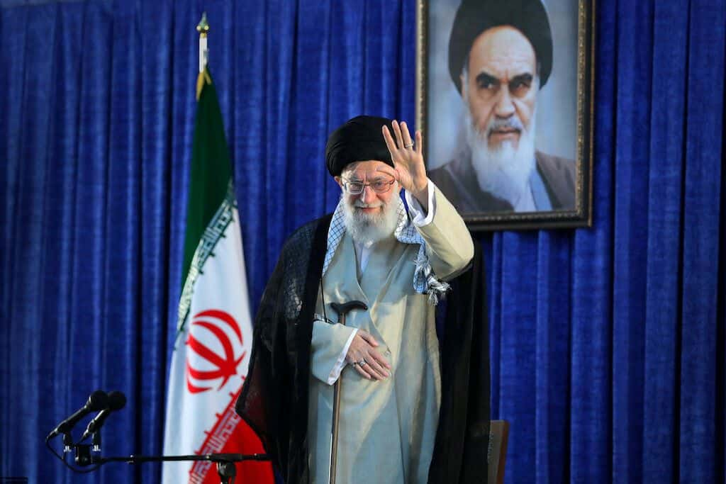 Iran's Supreme Leader Ayatollah Ali Khamenei waves his hand as he arrives to deliver a speech during a ceremony marking the 30th death anniversary of the founder of the Islamic Republic Ayatollah Ruhollah Khomeini in Tehran, Iran June 4, 2019. Official Khamenei website/Handout via REUTERS