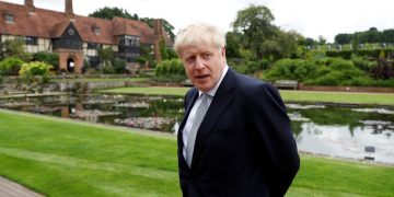 Boris Johnson, a leadership candidate for Britain's Conservative Party, looks on during his visit at Wisley Garden Centre in Surrey, Britain, June 25, 2019. REUTERS/Peter Nicholls