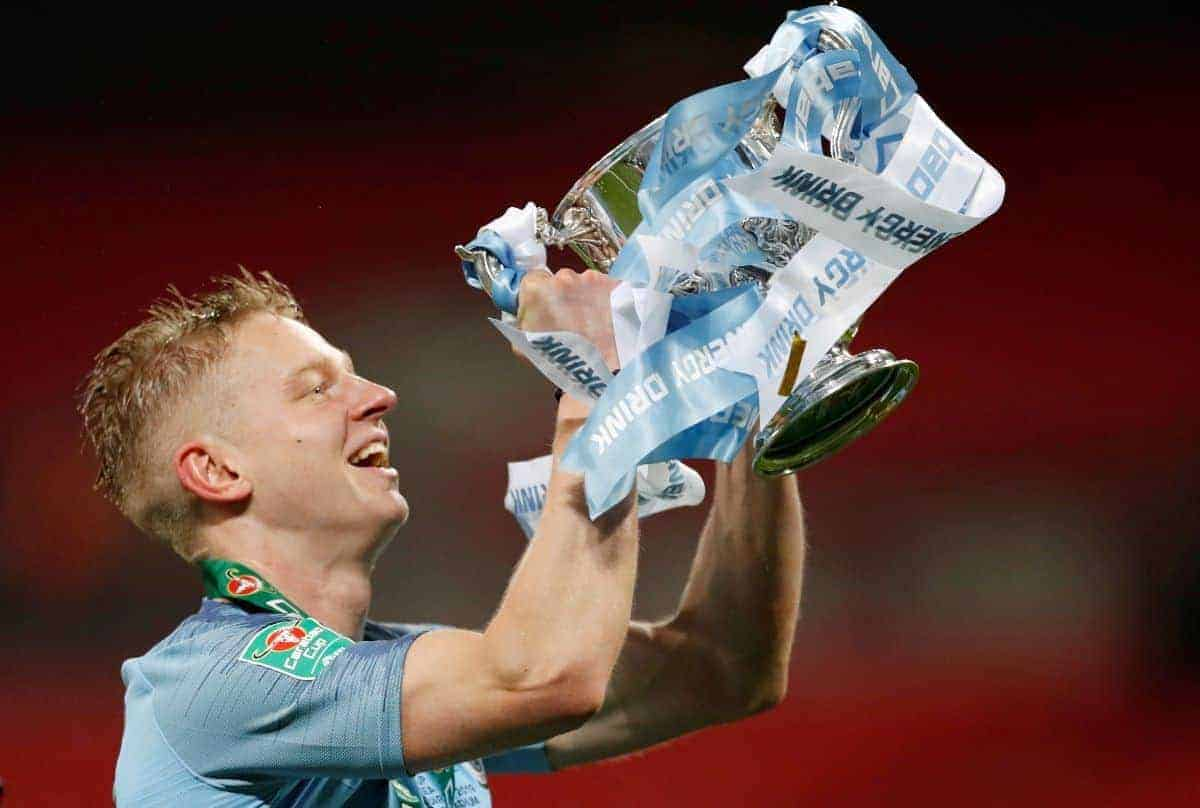 February 24, 2019 Manchester City's Oleksandr Zinchenko celebrates with the trophy after winning the penalty shootout Action Images via Reuters/Carl Recine