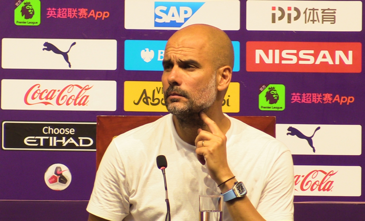 Manchester City manager Pep Guardiola during the press conference in Nanjing, China.