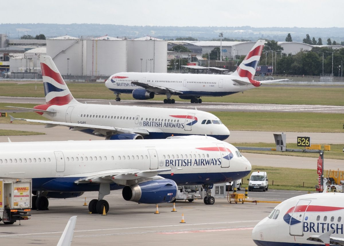 British Airways aircraft at London's Heathrow airport. Credit;PA