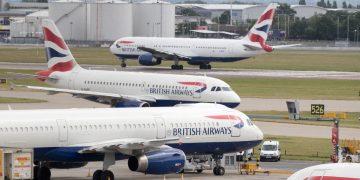 British Airways aircraft at London's Heathrow airport. Credit;PA