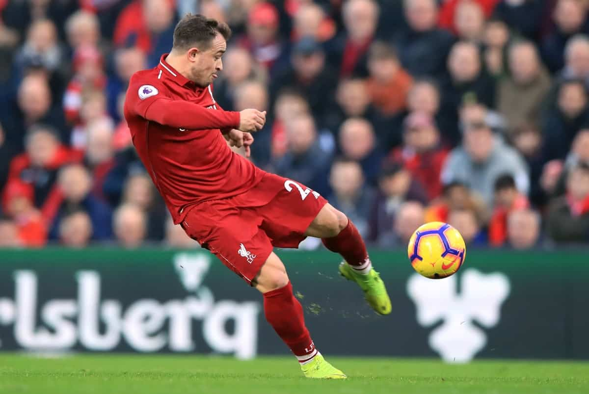 Liverpool's Xherdan Shaqiri during the Premier League match at Anfield, Liverpool.