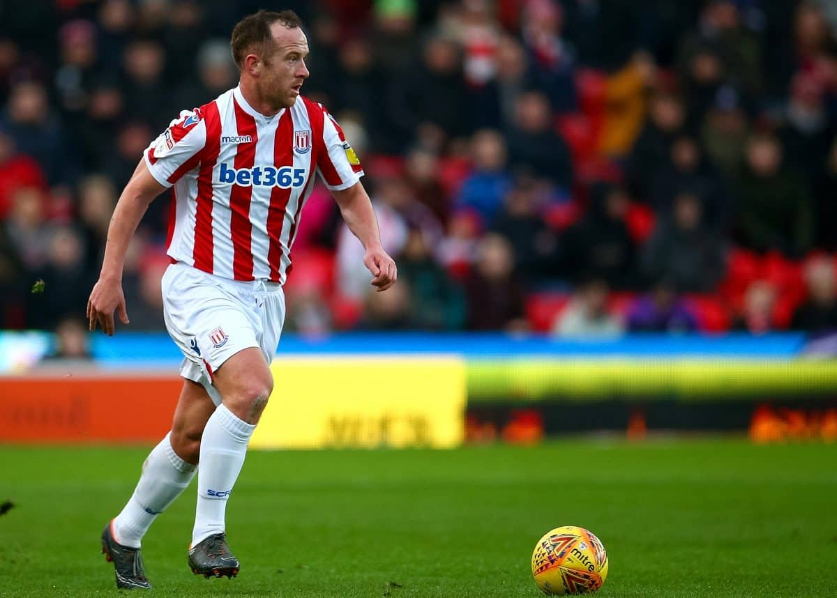 Stoke City's Charlie Adam during the Sky Bet Championship match at the bet365 Stadium, Stoke.