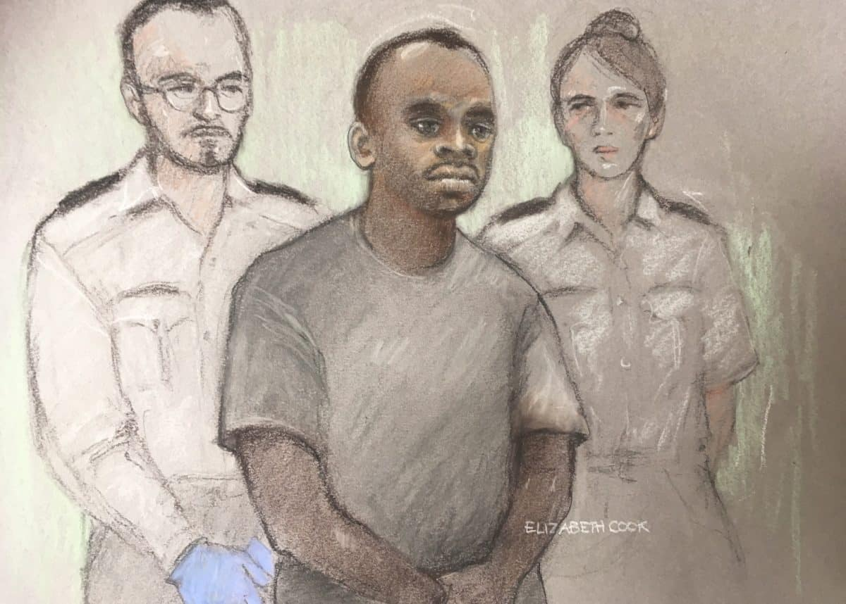 Court artist sketch by Elizabeth Cook of 29-year-old Sudanese national Salih Khater, of Highgate Street, Birmingham, in the dock at Westminster Magistrates' Court where he is charged with the attempted murder of members of the public and police following an incident on Tuesday August 14 in which a car was driven into a group of people and police, before crashing into barriers outside the Houses of Parliament.