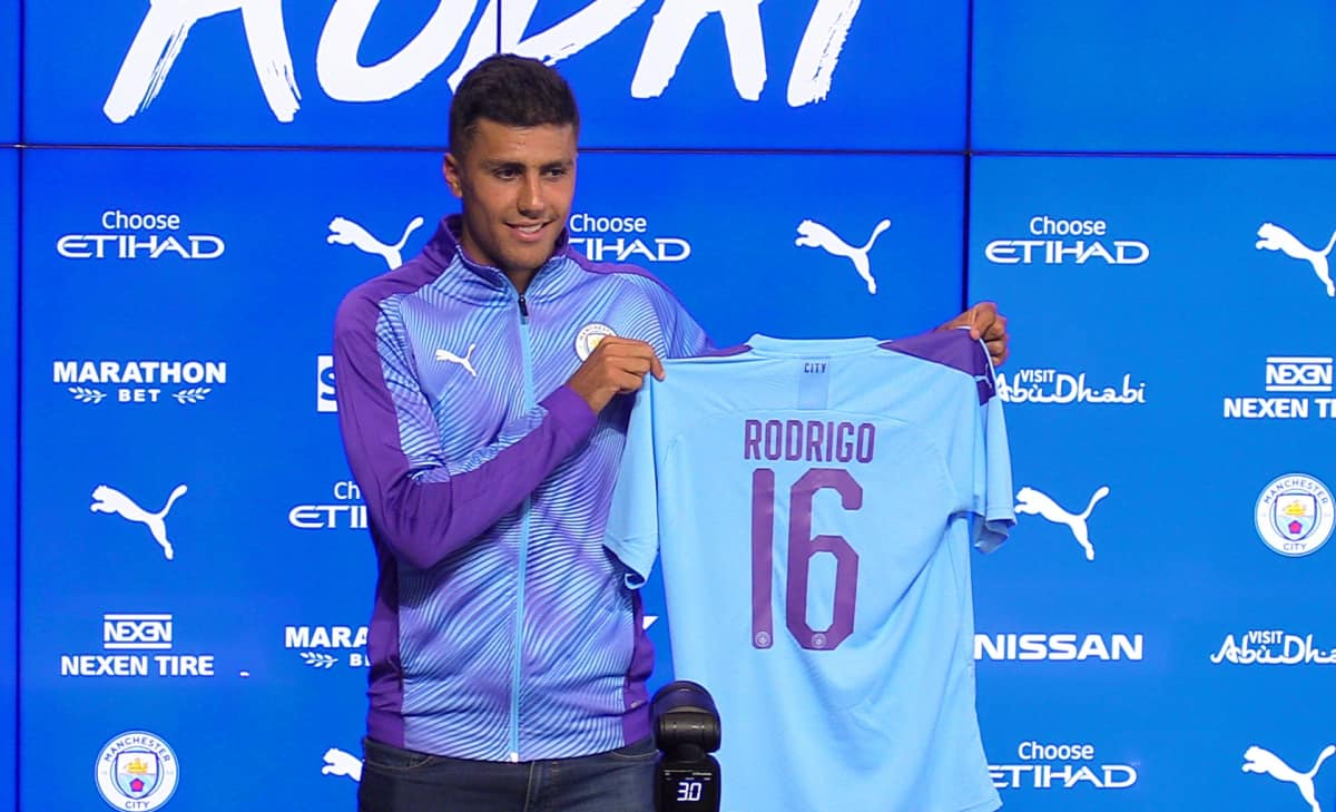 Manchester City's Rodri poses for photographers during the press conference at the City Football Academy, Manchester.