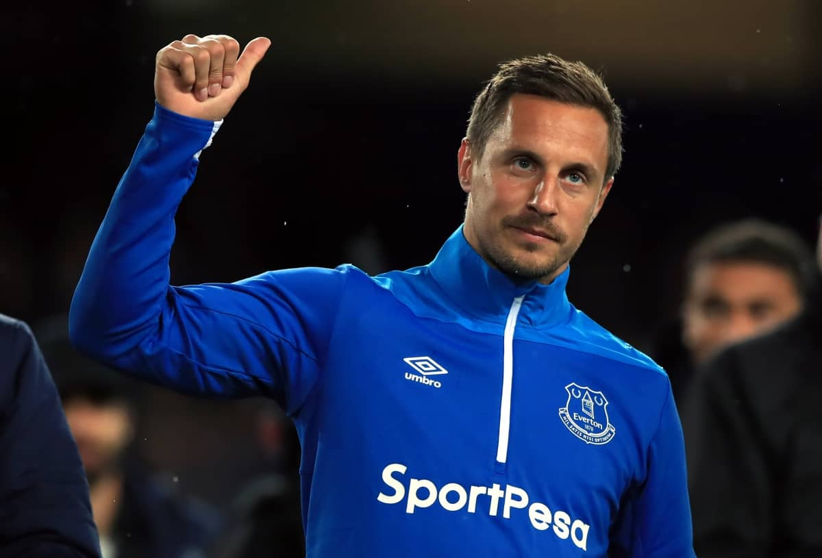 Everton's Phil Jagielka during the lap of honour after the Premier League match at Goodison Park, Liverpool.