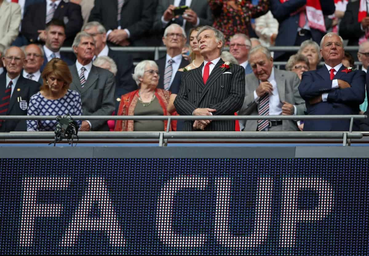 Arsenal majority owner Stan Kroenke with Arsenal Chairman Chips Keswick (right) during the Emirates FA Cup Final at Wembley Stadium, London.