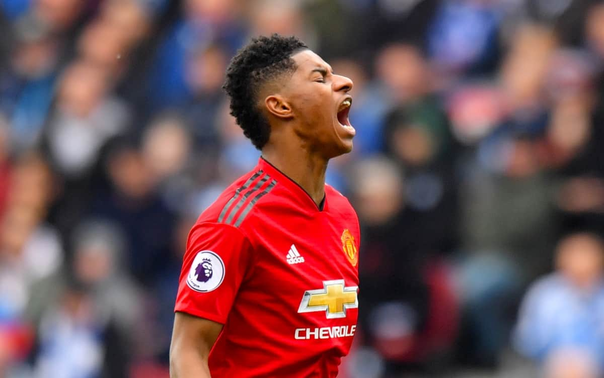 Manchester United's Marcus Rashford reacts during the Premier League match at the John Smith's Stadium, Huddersfield.
