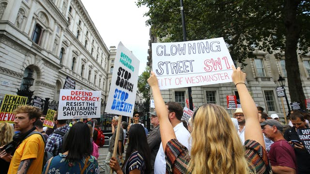 Stop the coup demonstrations against Boris Johnson proroguing Parliament