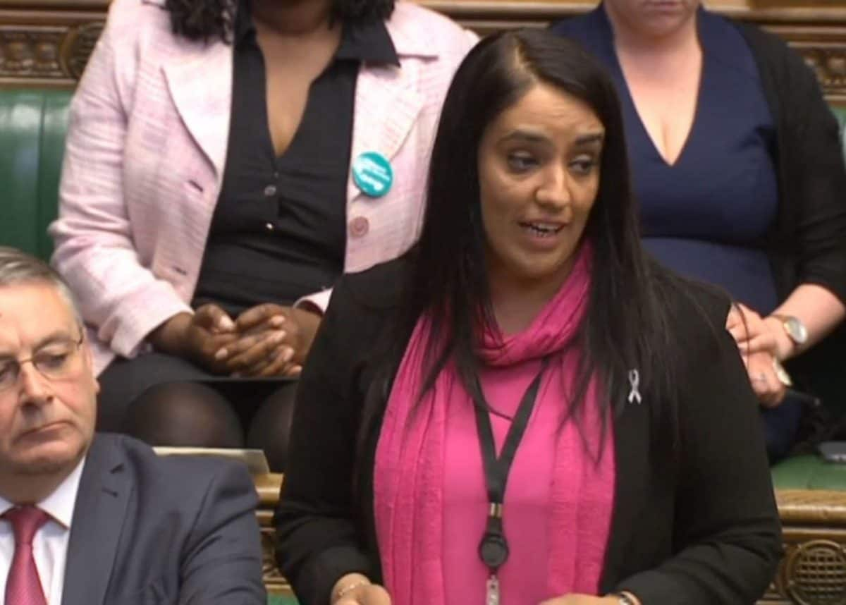 """Labour MP Naz Shah as she tells the House of Commons in London that she """"wholeheartedly apologises"""" for words she used in a Facebook post about Israel."""