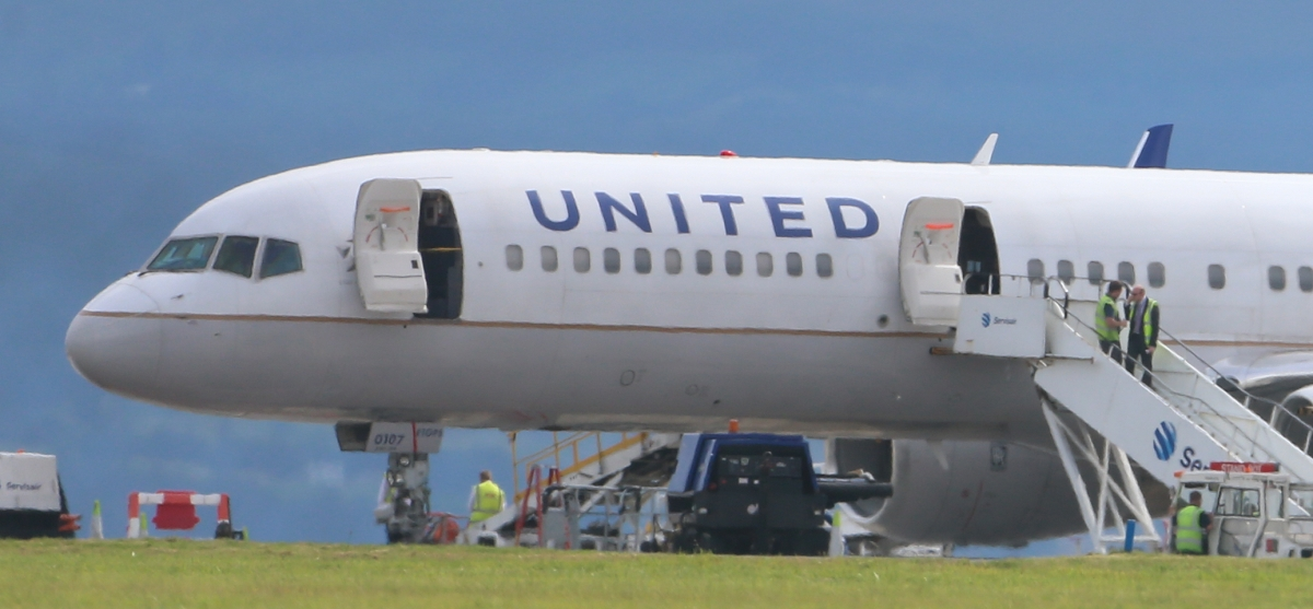 Activity surrounding a United Airlines flight from Britain which has made an emergency landing in Dublin Aiport.
