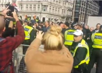 Parliament Square protests filmed by tourists (Chris Hobbs)