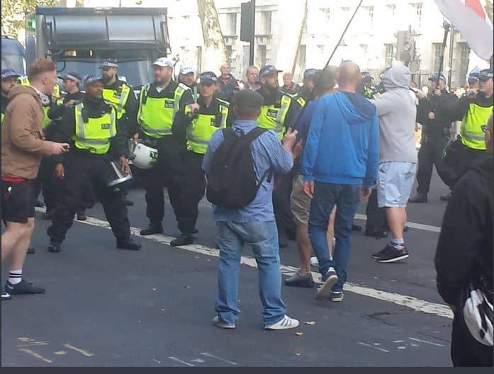Police form a hasty Whitehall cordon (Chris Hobbs)