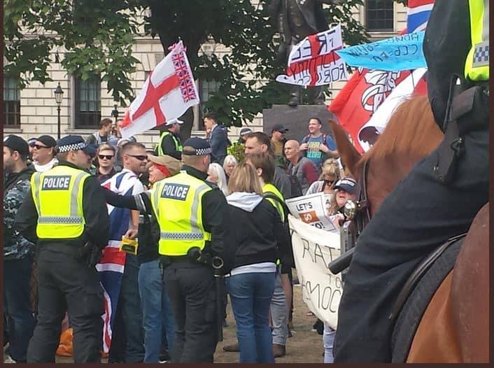 Police & DFLA protestors in Parliament Square (Chris Hobbs)