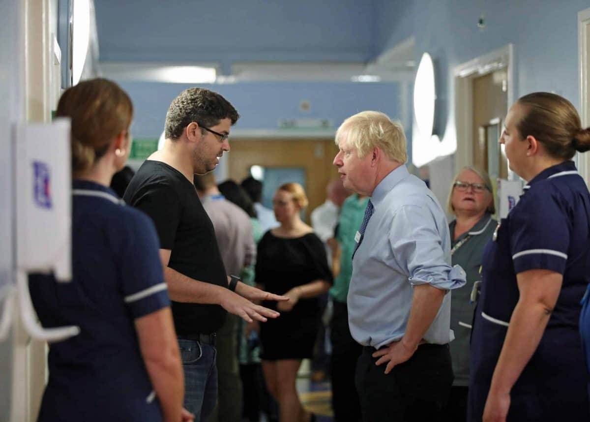 NHS dad attacks Boris Johnson on hospital visit