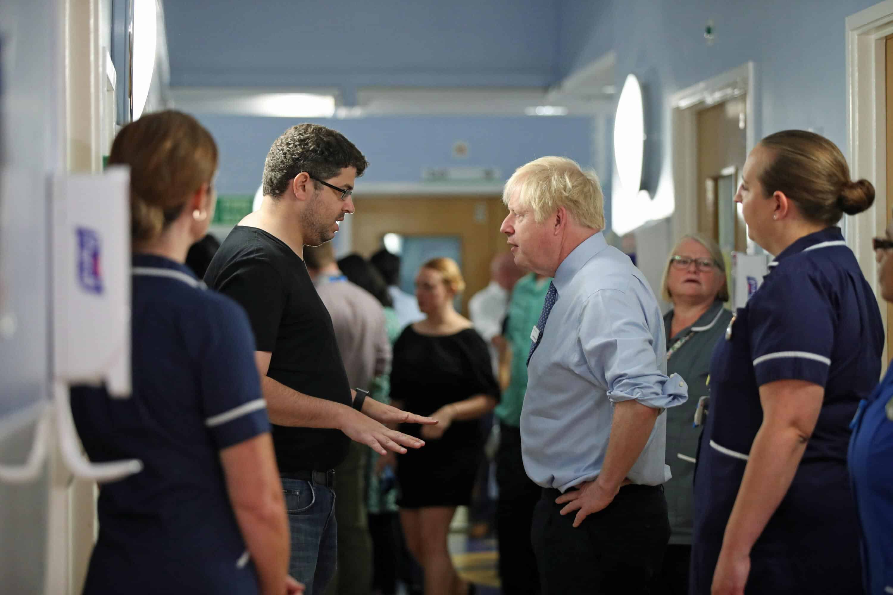 NHS dad attacks Boris Johnson on hospital visit