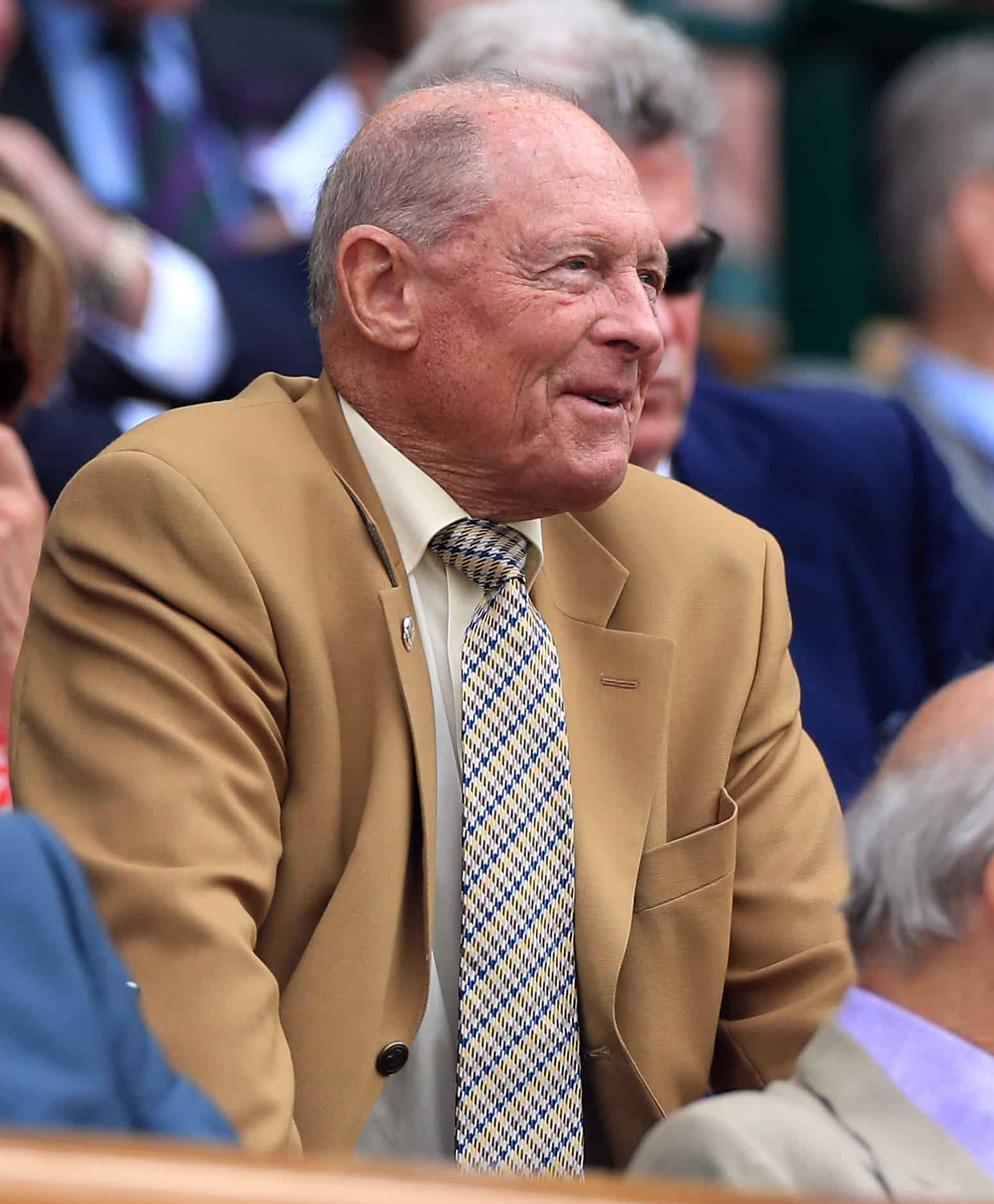 Geoffrey Boycott in the royal box of centre court on day two of the Wimbledon Championships at the All England Lawn Tennis and Croquet Club, Wimbledon.