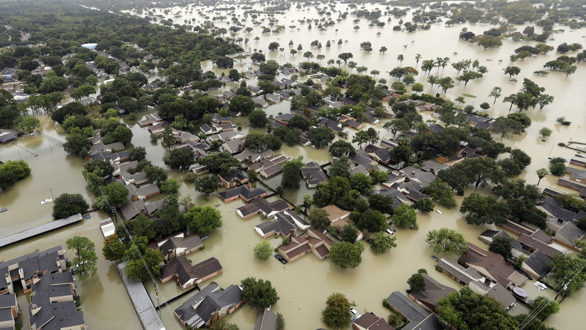 Flooded area of Houston after Hurricane Harvey, 2017 (AP Photo/David J. Phillip)