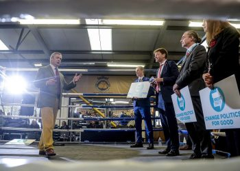 Brexit Party Leader Nigel Farage speaking at a Brexit Party rally at Bolsover Boxing Club in Bolsover in Chesterfield, South Yorkshire - 5th November 2019