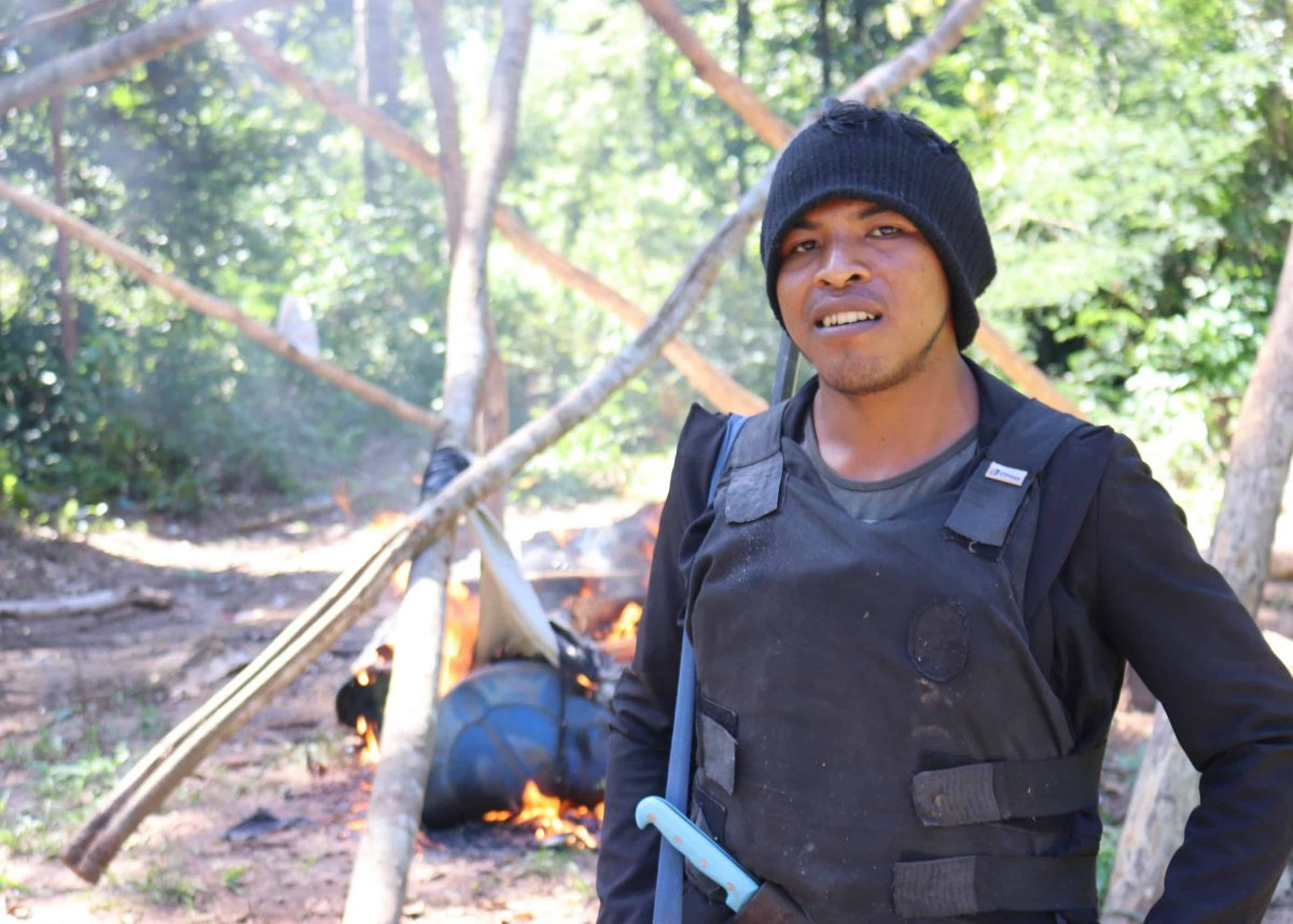 Paulino on a mission with the Guardians, wearing Sarah's hat.(Survival)