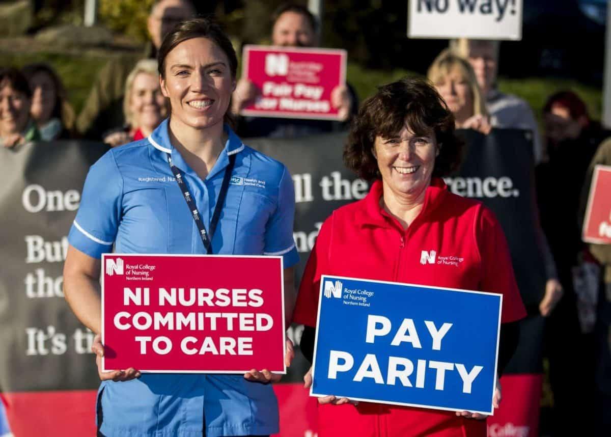 In unprecedented walkout, 9,000 nurses take strike action in Northern Ireland