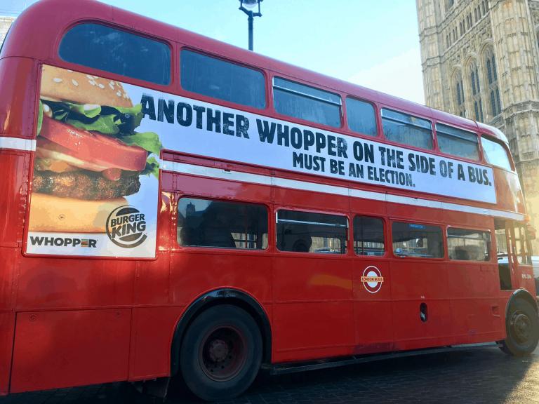 """Burger King park """"whopper"""" bus outside Westminster"""