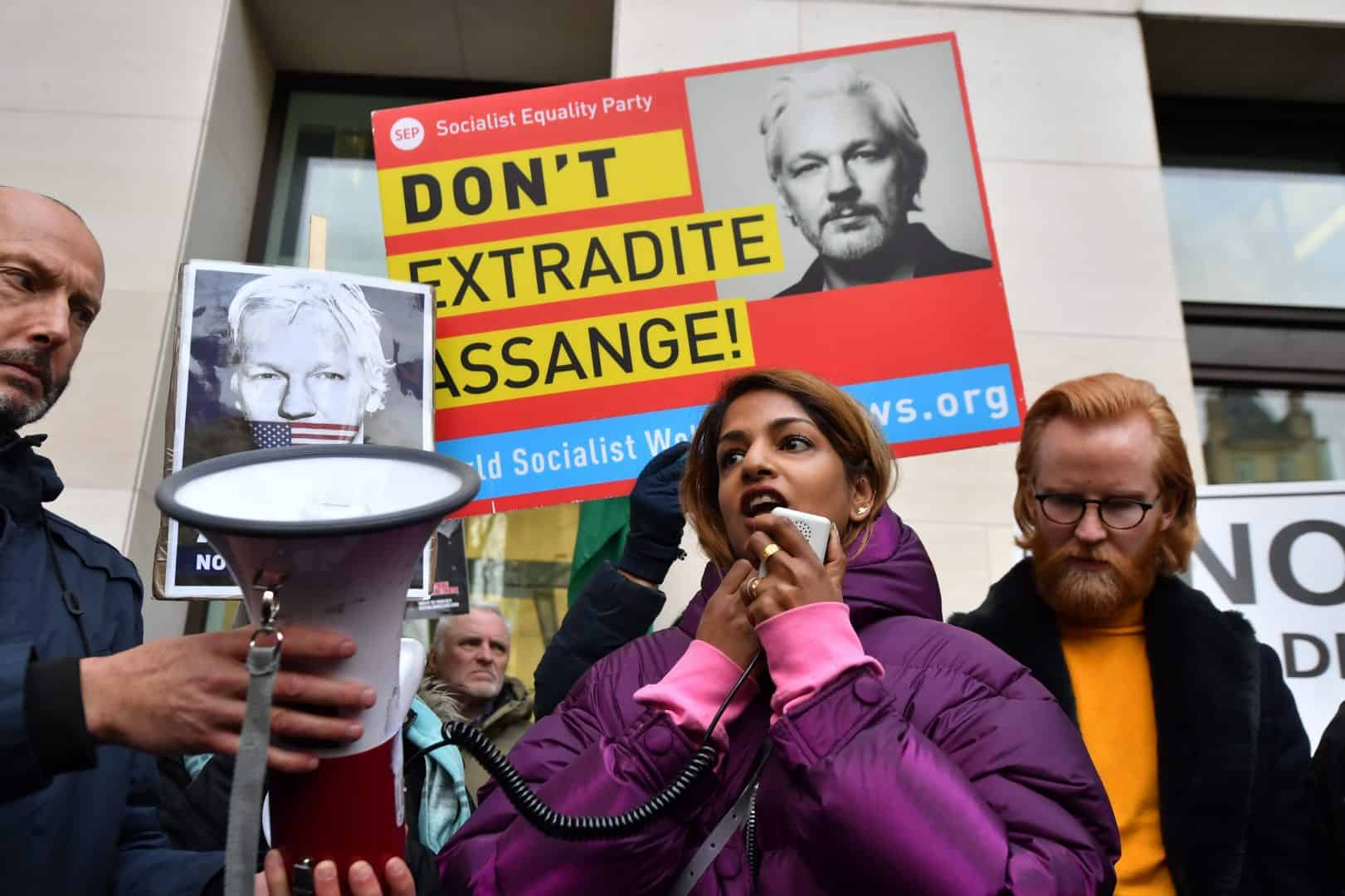 Singer MIA with supporters of Julian Assange (PA)