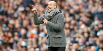 Manchester City manager Pep Guardiola gestures on the touchline during the Premier League match at the Etihad Stadium, Manchester.Credit PA