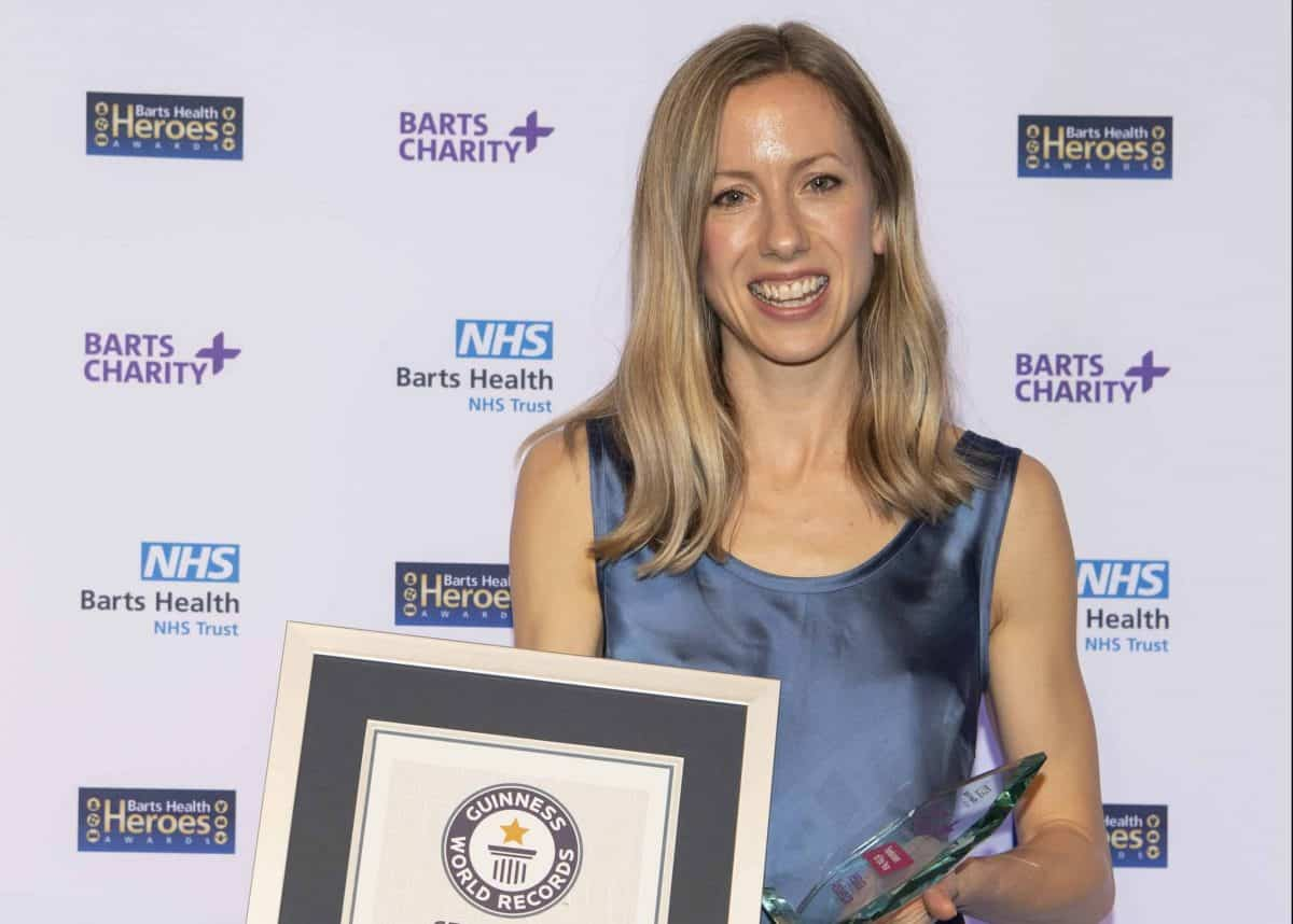 Jessica Anderson is presented a Guinness World Record and Fundraiser Individual Barts Charity Award at the Barts Health Heroes Awards Ceremony, Wednesday 12th February 2020. The Brewery, 52 Chiswell Street, London. Picture: Jon Buckle