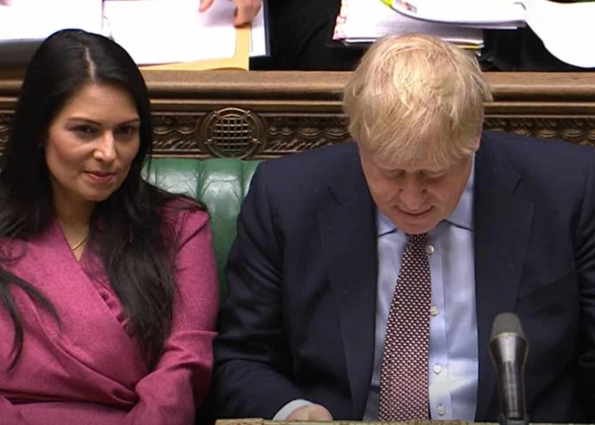 Home Secretary Priti Patel and Prime Minister Boris Johnson during Prime Minister's Questions in the House of Commons, London.
