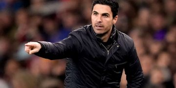 Arsenal manager Mikel Arteta gestures on the touchline during the Premier League match at the Emirates Stadium, London.