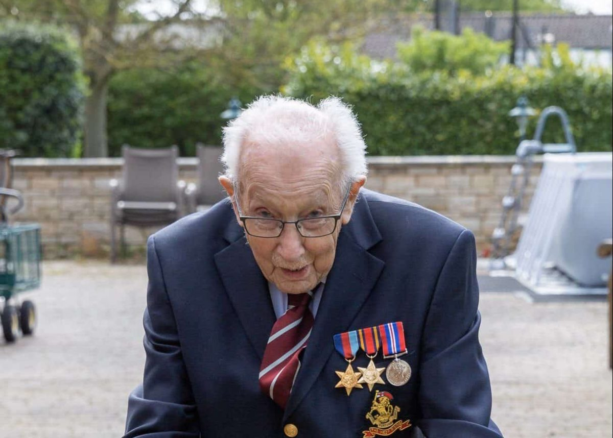 Tom Moore of himself, a 99-year-old veteran who has raised over ??2 million for the NHS after setting himself a challenge to walk 100 lengths of his garden.